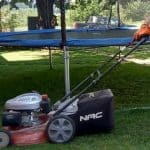 how to cut grass under a trampoline